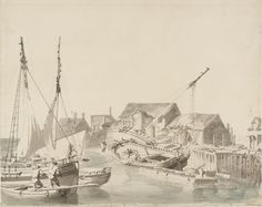 Joseph Mallord William Turner, Thomas Girtin 'Dover Harbour: Small Boats by the Quay',    ---   From Collaborations with Thomas Girtin for Dr Monro, and Other Copies   --   1795–6  -  Graphite and watercolour on paper -  Dimensions Support: 341 x 428 mm -  Collection -  Tate