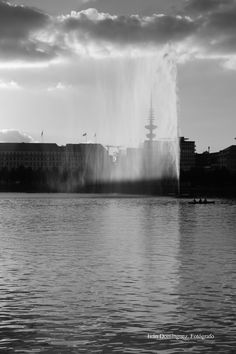 """""""The water fountain"""" -- The water fountain at Binnenalster lake in Hamburg made fanciful transparencies. Deluge."""