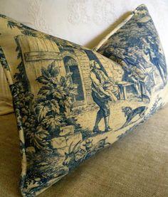 Blue  Ivory Toile Laura Ashley Pillow Cover Linen Blend 13x20