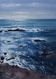 "From my latest exhibition ""Aguas del Cabo"". Soft pastel and water colour on Fabriano paper. By Jorge Juan Gómez Sea Paintings, Cabo, Pastel, Waves, Watercolor, Colour, Outdoor, Landscape Paintings, Pen And Wash"