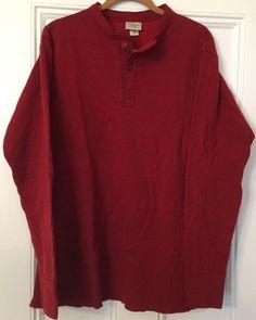 4b699f4b93d LL Bean River Driver  Shirt Men  size Large Tall Cotton Wool Blend Henley