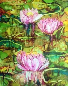 "Original Alcohol Ink Painting Water Lilies ""Reflections"" 11x14 Yupo paper by HeidiStavingaStudio on Etsy"