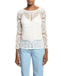 Nola Cotton Crochet Top, Ivory - Diane von Furstenberg