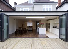 Lovely bifold doors - definitely what will be going into the rear extension! Kitchen Diner Extension, House Design, House, House Extensions, Flat Roof Extension, Open Plan Kitchen Living Room, House Styles, New Homes, Open Plan Kitchen