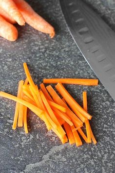 How to Julienne a Carrot (Matchstick Style) How To Julienne Carrots, How To Cut Carrots, Canned Carrots, Clean Dinner Recipes, Clean Dinners, Clean Eating Recipes, Healthy Eating Tips, Healthy Recipes, Healthy Meals