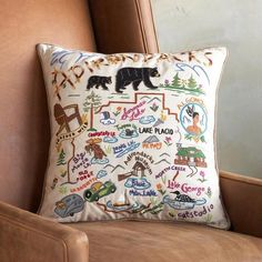 PARKS PILLOWS - Inspired by Mid-Century travel souvenirs, these colorful pillows commemorate seven of our most-loved national parks. National Park Gifts, National Parks, Room Themes, Nursery Themes, Nursery Ideas, Baby Pillows, Throw Pillows, Bolster Pillow, Pillow Cases