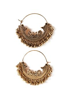 Etched Ball-Fringe Hoop Earrings | FOREVER21 | #f21accessorize