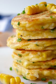 These Sweet Corn Fritters Are Crisp And Golden On The Outside, And Warm And Soft On The Inside. They Taste Like Delicious Balls Of Cornbread Heaven! . Creamed Corn Fritters Recipe, Cream Corn Fritters, Sweet Corn Fritters, Pea Fritters, Corn Fritter Recipes, Creamed Corn Recipes, Brunch Recipes, Appetizer Recipes, Appetizers