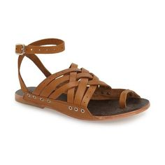 Free People 'Belize' Flat Sandal ($68) ❤ liked on Polyvore featuring shoes, sandals, perforated shoes, flat sandals, toe loop sandals, toe-ring sandals and flat strap sandals