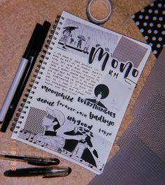 rm mono inspired bullet journal on We Heart It - art journal inspiration - Bullet Journal Kpop, Bullet Journal Aesthetic, Bullet Journal Writing, Bullet Journal School, Bullet Journal Themes, My Journal, Bullet Journal Inspiration, Art Journal Pages, Journal Ideas