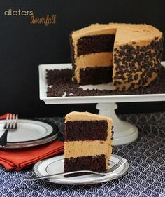 Homemade Chocolate Cake sandwiching Peanut Butter Cookie Dough and topped with Peanut Butter Frosting. A Chocolate and Peanut Butters Dream Cake!- from dietersdownfall.com