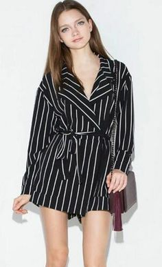 222432064c 2016 Summer Fashion Black And White Striped Lacing Slim Waist Women  Long-sleeve Jumpsuit Plus Size Monos Cortos De Mujer Rompers