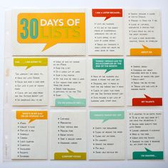 30 days of lists incorporated into Project Life
