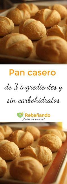 Esta receta es un regalo del cielo, ¿sabes por qué? Porque no solo este pan es riquísimo, sino que se hace en muy poco tiempo, tiene tan solo 3 ingredientes, no contiene carbohidratos y, gracias a eso, ¡puedes comer todo el que quieras sin engordar un solo gramo! Low Carb Recipes, Cooking Recipes, Pan Bread, Sin Gluten, Tan Solo, Healthy Desserts, Cooking Time, Tapas, Mexican Food Recipes