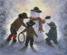 Snowman and Three Little Cowboys Original Oil Painting,  Vickie Wade