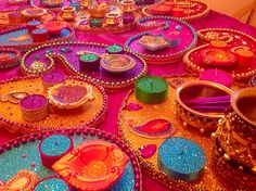 Multi coloured Mehndi plates. See my Facebook page www.facebook.com/mehnditraysforfun