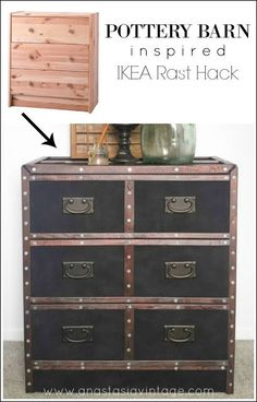 Pottery Barn Inspired IKEA Rast Hack. It looks just like reuposed vintage trunks! AMAZING! - Anastasia Vintage
