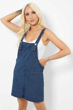 Womens Dark Blue Denim Dungaree Dress Pinafore Size UK 10 12 Jeans 100% Cotton #Unbranded #PinaforeDungareeDress #AnyOccasion