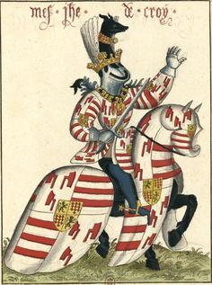 Jean II de Croÿ (Gaignières 1817) -- Aquarelle, d'après «Carousel des chevaliers de l'ordre de la Toison d'or, fait à Bruges aux nopces de Philippe le Bon, duc de Bourgogne, avec l'infante Isabel de Portugal au mois de janvier M.CCC.XXX», ms du cabinet de l'empereur d'Autriche, à Vienne. -- «Mes[sire] Jhe[an] de croÿ»