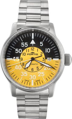 Fortis Watch Aviatis Flieger Cockpit #bezel-fixed #bracelet-strap-steel #brand-fortis #case-material-steel #case-width-40mm #date-yes #delivery-timescale-1-2-weeks #dial-colour-yellow #gender-mens #luxury #movement-automatic #official-stockist-for-fortis-watches #packaging-fortis-watch-packaging #style-dress #subcat-aviatis #supplier-model-no-595-11-14-m #swiss-fortis #warranty-fortis-official-2-year-guarantee #water-resistant-200m