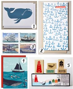 Just a little roundup of some nautical snail mail supplies! 1. Whale Card by Banquet 2. Happy Birthday Matey from Egg Press 3. U.S. Merchant Marine from USPS 4. Nautical card from Paper Source 5. B…