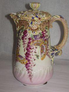 Jeweled antique art moriage porcelain chocolate pot Marked #Moriage