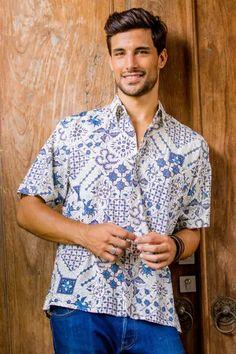 Shop unique, award-winning Artisan treasures by UNICEF Market. Blue And White Shorts, Charity Gifts, Batik Prints, Dress Skirt, Shirt Dress, Shades Of Blue, Short Sleeves, Men Casual, Button Down Shirt