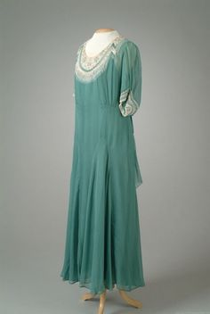 Party Dress, Peggy Hoyt: 1936, georgette with cuffs of embroidered georgette.
