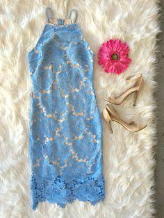 Blue Lace Midi Dress. Dresses, Wedding Guest, Cocktail Dress, Lace Dress, Body-con Dress