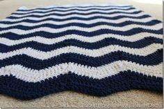 Crochet Chevron Baby Blanket Navy and White