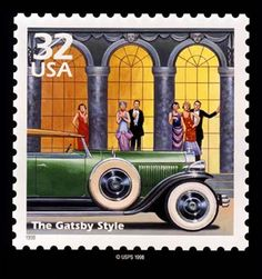 The Great Gatsby Style art deco USA postage stamp