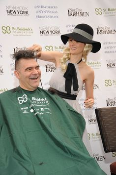 Holly Madison shaving John Katsilometes #BraveaShave