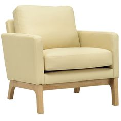 VINCE SCANDI STYLE ARMCHAIR (PU) CREAM CUSHION / NATURAL FRAME (AC055(PU)
