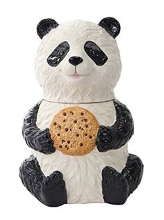 Panda Bear Hand Painted Black & White Ceramic Cookie Jar This adorable jar measures about 7 by 7 by 9.5 inches and makes a great gift Made of high quality ceramic