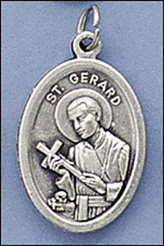 """Qty 5 Men or Womens Catholic & Religious. 1"""" H Silver Tone St Gerard - St. Gerard with Our Lady of Perpetual Hope on Back Medal. Our Silver Oxidized Saints Medals Come on a Convenient Jump Ring, Ready for a Stainless Steel Chain. Made in Italy. Catholic Saint Gerard Majella Patron Saint of Childbirth, Expectant Mothers, Pregnant Women, Fertility, Pregnancy, Safe Delivery, Infertility. Jewelry."""