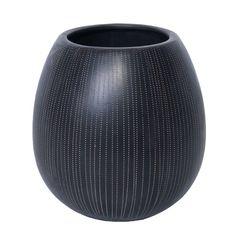Pot en céramique rond de couleur noir et crème 8x8.5