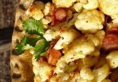 Roasted Cauliflower and Bacon side paleo, garlic, roast cauliflow, healthi side, healthi food, bacon, recip, veget, side dish