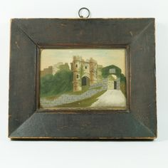 Antique Miniature 19th Century Sand Picture Carisbrooke Castle Circa from trinityantiques on Ruby Lane