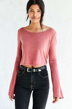 Truly Madly Deeply Beauty Bell-Sleeve Cropped Top