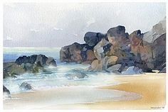 playa - cabo san lucas by Thomas W. Schaller Watercolor ~ 8.5 inches x 11 inches