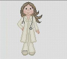Lady doctor x-stitch Cute Cross Stitch, Cross Stitch Charts, Cross Stitch Designs, Cross Stitch Patterns, Diy Embroidery, Cross Stitch Embroidery, Embroidery Patterns, Cat Cross Stitches, Cross Stitching