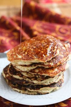 Gluten-Free Quinoa Almond Flour Pancakes Recipe - so easy - everything (including cooked quinoa) is mixed together in your blender so you can pour the batter right into the hot skillet to make these delicious pancakes