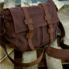 Old School 14'' Brown Leather and Canvas Messenger Bag