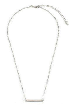 Simple Bar Necklace- Silver