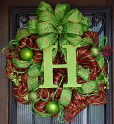 Christmas Monogram Wreath, Red and Lime Green