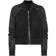 Rick Owens Brushed Leather Bomber Jacket (1,675 CAD) ❤ liked on Polyvore featuring outerwear, jackets, coats & jackets, black, 100 leather jacket, rick owens, blouson jacket, genuine leather jacket and bomber jacket