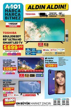 """1 Nisan ve 7 Nisan 2021 tarihleri arasında A101 marketlerde geçerli """"Aldın Aldın"""" broşürü 9 sayfadan oluşmaktadır. A101′ in 1 Nisan tarihli broşüründe Toshiba 65″, 58″ ve 55″, HI-LEVEL 55″ ve 32″ Smart LED TV çeşitleri, Reeder P13 Cep Telefonu, SEG' den buzdolabı, turbo fırın, çamaşır ve bulaşık makinesi çeşitleri, pek çok markadan tava, tencere, tabak ve bardak gibi mutfak gereçleri, gıda, oyuncak ve giyim ürünleri yer almaktadır. #a101 #a101market #aktüelürünler #broşür #katalog #indirim Smart Tv, Wifi"""
