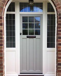 Front Door Porch, Porch Doors, House Front, Windows And Doors, Front Doors, Front Door Farrow And Ball, Grey Composite Front Door, Upvc Porches, Porch Tile