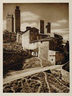 1925 Towers San Gimignano Tuscany Italy Architecture - ORIGINAL ITALY3