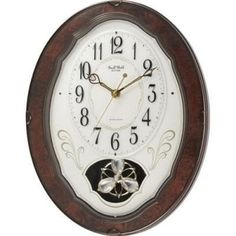 Wood Frame Pendulum Wall Clock Plays Melodies on the Hour- Free Shipping